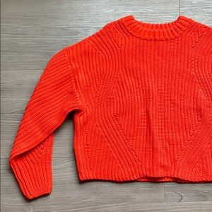 H&M Bright Red Cable Knit Crew Neck Crop Sweater